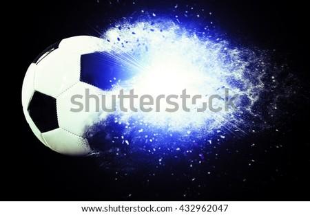 Powerful soccer ball - stock photo
