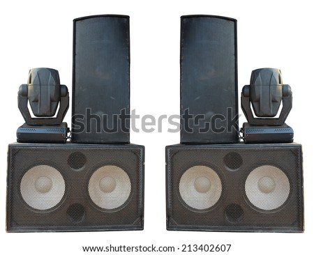 Powerful stage concerto audio speakers and spotlight projectors isolated on white background - stock photo