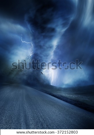 Powerful Tornado with debris on a road. Lightning illuminates the tornado. Illustration. - stock photo
