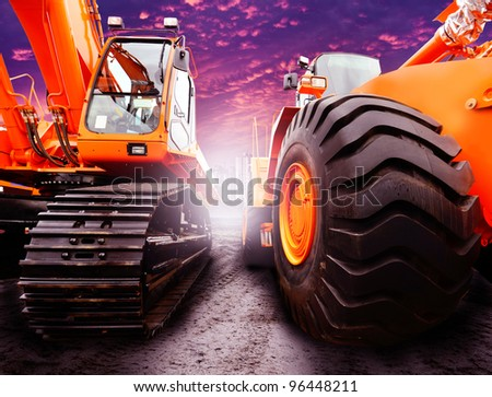 powerful tractors on guard development - stock photo