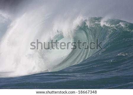 powerful wave breaking - stock photo