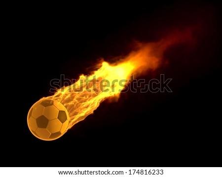 powerfull hitted sport ball - stock photo