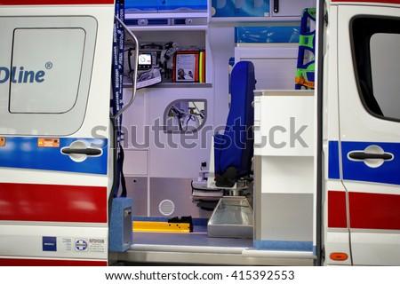 POZNAN, POLAND - APRIL 12. 2016:  Inside of ambulance car on Poznan International Fair SALMED 2016, Poland. - stock photo