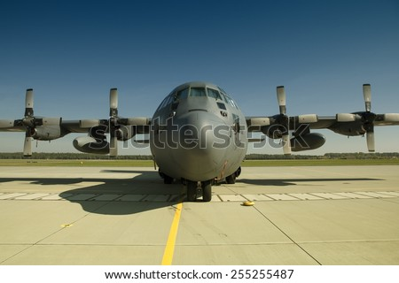 POZNAN, POLAND - AUGUST 24: Polish C-130 Hercules (Poland) during Air Show 2014  at Krzesiny Base - stock photo