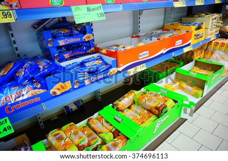 POZNAN, POLAND - DECEMBER 08, 2013: Bread for sale in a Lidl supermarket - stock photo