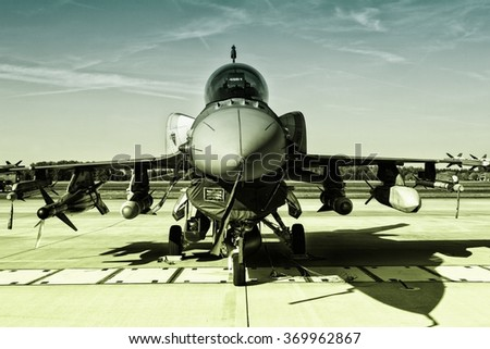 POZNAN, POLAND - JULY 11, 2015:F-16 Fighting Falcon is a single-engine multirole fighter aircraft originally developed by General Dynamics - stock photo