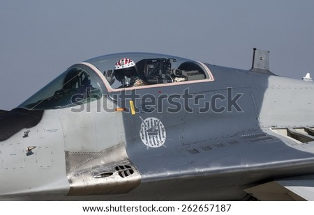 POZNAN, POLAND - JULY 1, 2014:The Mikoyan MiG-29 Fulcrum is a jet fighter aircraft designed in the Soviet Union. - stock photo