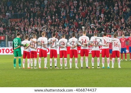 POZNAN, POLAND - MARCH 23, 2015: Poland football team before the friendly football match between Poland and Serbia at the Inea Stadium in Poznan. - stock photo