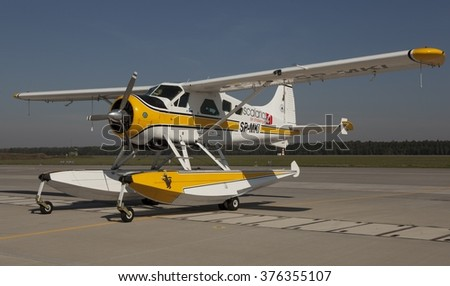 POZNAN, POLAND-MAY 30, 2015: Floatplane or Seaplane static display in Air Base in Poznan - stock photo