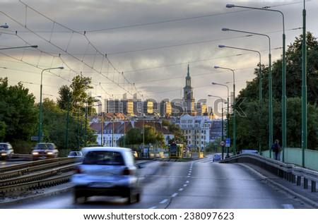 POZNAN, POLAND - MAY 9, 2014: View of downtown from the Chrobry Bridge in Poznan, POland - stock photo