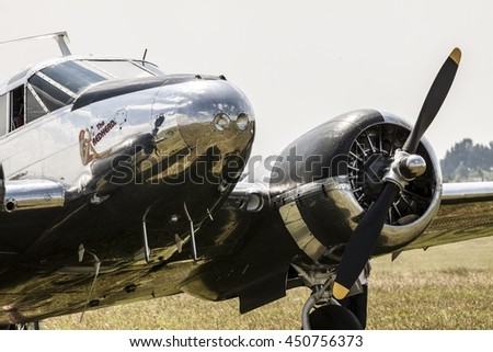POZNAN, POLAND -SEP 23, 2015: Beechcraft C45 Twinbeech is a six to 11-seat, twin-engined, low-wing, tailwheel light aircraft manufactured by the Beech Aircraft Corporation of Wichita, Kansas - stock photo