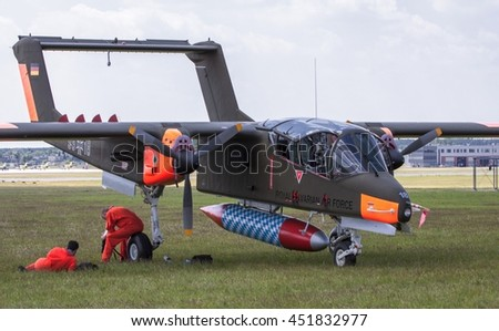 POZNAN, POLAND -SEP 23, 2015: The North American Rockwell OV-10 Bronco is an American turboprop light attack and observation aircraft. - stock photo