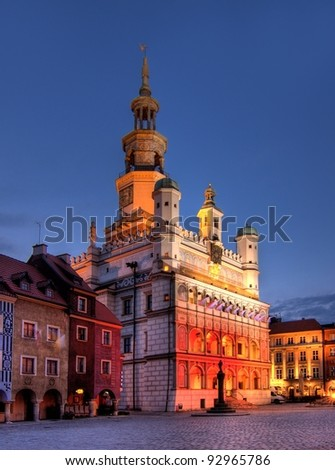 Poznan Town Hall is a building in the city of Pozna? in western Poland, located in the Old Market Square  in the centre of the Old Town neighbourhood. - stock photo