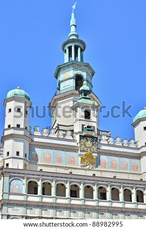 Poznan Town hall with mechanical goats' butting display - stock photo