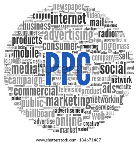PPC and advertising concept in word tag cloud on white - stock photo