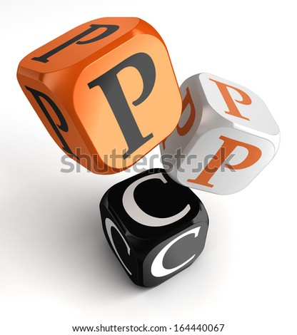 ppc for pay per click orange black dice blocks on white background. clipping path included - stock photo