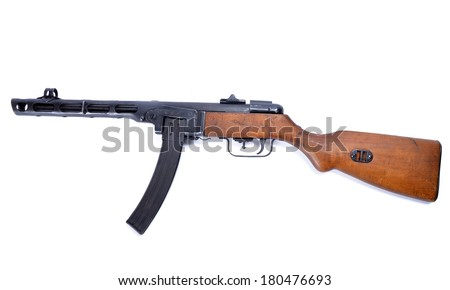 ppsh 41 machine gun on bland background - stock photo