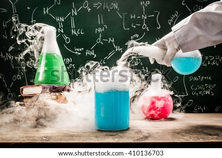Practical chemical tests in university lab - stock photo