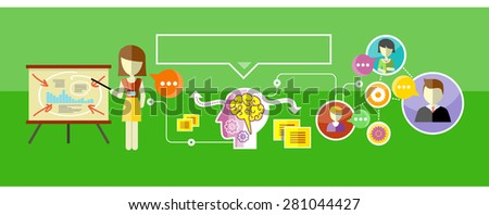 Practical training concept. Human brain that handles a lot of missions. Woman stands near a stand with charts and making a presentation. Video chat between students. Raster version - stock photo