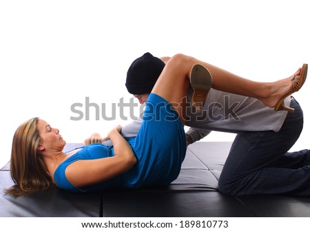 Practicing Self Defense  - stock photo