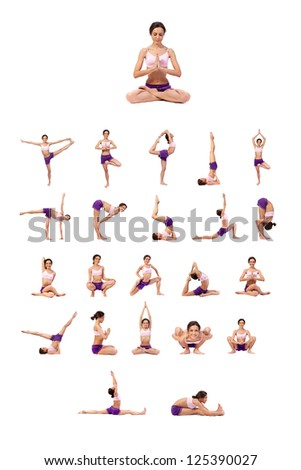 Practicing Yoga set. Young woman isolated on white background - stock photo