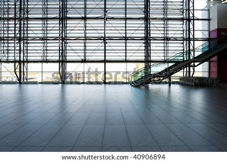 Prague Airport Arrivals Area Glass Wall - stock photo