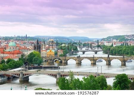 Prague and its multiple bridges across Vltava river, Czech Republic - stock photo