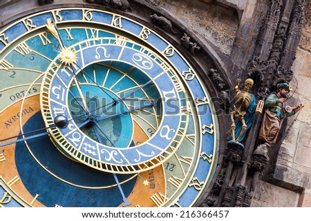 Prague astronomical clock at the Old Town City Hall from 1410 is the third oldest astronomical clock in the world and the oldest one still working - stock photo