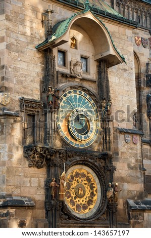 Prague Astronomical Clock, medieval astronomical clock, on the southern wall of Old Town City Hall in the Old Town Square, Prague, Czech Republic. - stock photo