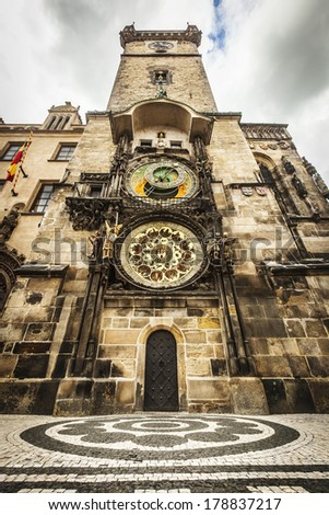 Prague Astronomical Clock, medieval astronomical clock, on the southern wall of Old Town City Hall in the Old Town Square, Prague, Czech Republic - stock photo