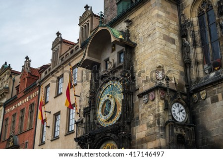 Prague Astronomical Clock Orloj in the Old Town cneter of Prague - stock photo
