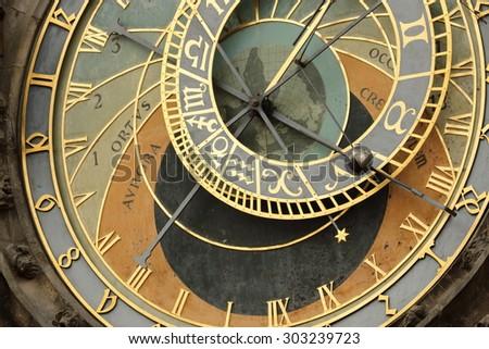Prague Astronomical Clock (Orloj) in the Old Town of Prague - stock photo