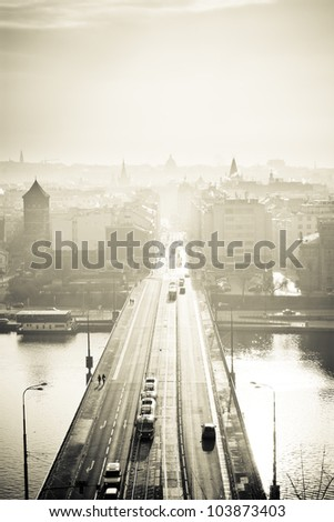 Prague at sepia - stock photo