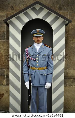 PRAGUE - AUGUST 31: Guard at Prague Castle, August 31, 2010 in Prague, Czech Republic - stock photo