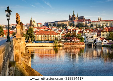Prague, Bohemia, Czech Republic. Hradcany is the Praha Castle with hurches, chapels, halls and towers from every period of its history. - stock photo