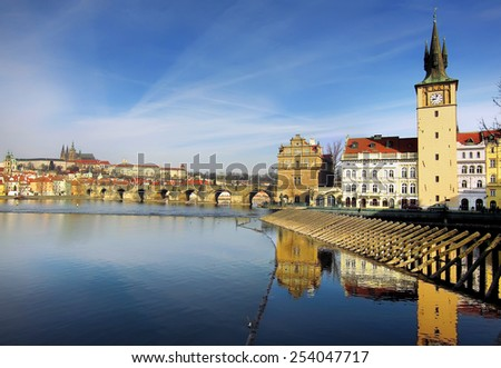 Prague castle and Charles Bridge in Prague, Czech Republic - stock photo