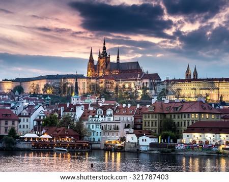 Prague Castle at dusk, Prague, Czech Republic - stock photo