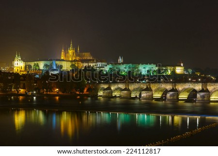 Prague Castle, Charles Bridge and the Little Quarter at night illumination, Prague, Czech Republic  - stock photo