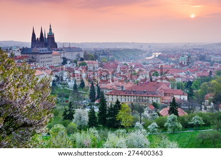 Prague castle, St. Vitus cathedral,  Lesser town, Prague (UNESCO), Czech republic - stock photo