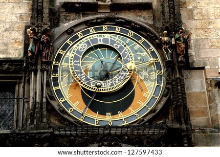 Prague clock detail - stock photo
