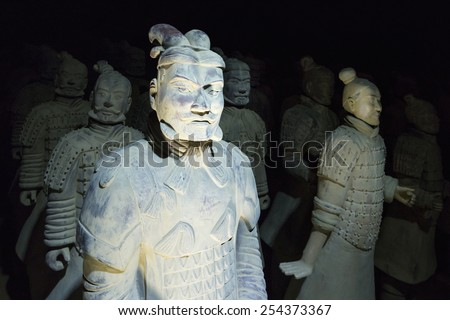 Prague, Czech Repoublic- 5 February 2015: The famous Chinese terracotta army figures are exhibited in Prague.The figures date back to 210 BC and belong to China's most important discoveries. - stock photo