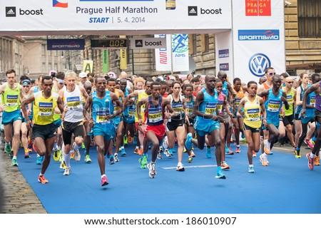 Prague, Czech  Republic - April 5, 2014, Half Marathon Praha - stock photo