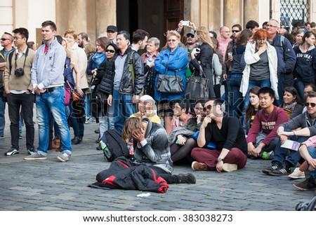 Prague, Czech Republic - April 19, 2014:  Open Air Concert on Oldtown Square, during traditional Prague Easter market. - stock photo
