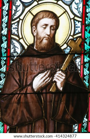 PRAGUE, CZECH REPUBLIC - APRIL 2, 2016: Stained Glass window in St. Vitus Cathedral, Prague, depicting Saint William of Gellone, also known as William of Aquitaine (755 - 812) - stock photo