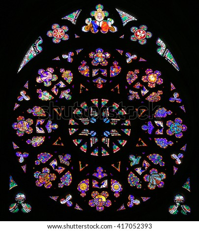 PRAGUE, CZECH REPUBLIC - APRIL 2, 2016: Stained Glass window in St. Vitus Cathedral, Prague - stock photo