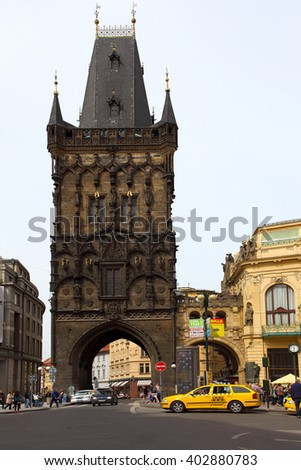 Prague, Czech Republic - April 25, 2015: View of The Powder Tower with unidentified people . The Old Town is famous destination in Prague. - stock photo