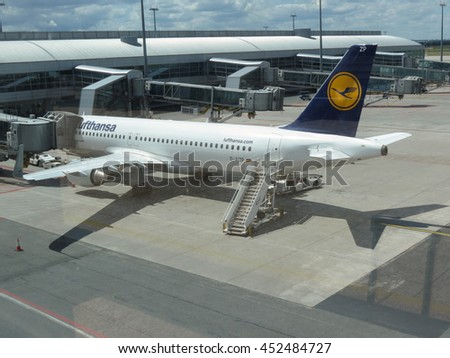 PRAGUE, CZECH REPUBLIC - CIRCA JULY 2016: Airbus A320-214 of Lutfhansa airways parked at the Vaclav Havel international airport - stock photo