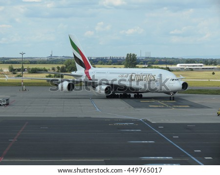 PRAGUE, CZECH REPUBLIC - CIRCA JULY 2016: World biggest passenger aircraft Airbus A380 of the Emirates airlines at Vaclav Havel international airport - stock photo