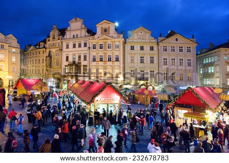 PRAGUE,CZECH REPUBLIC-DEC 25, 2012: Prague Christmas market on Old Town Square on december 15, 2012 in Prague - stock photo
