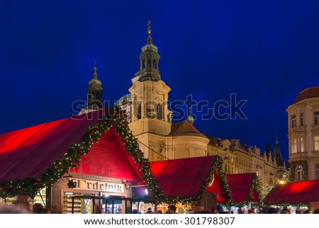 PRAGUE, CZECH REPUBLIC - DECEMBER 22, 2014: Christmas market in the old historic center of the city. The big Christmas markets are located on the Old Town Square and Wenceslas Square - stock photo